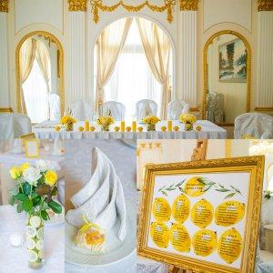Пример декора свадьбы в лимонном стиле