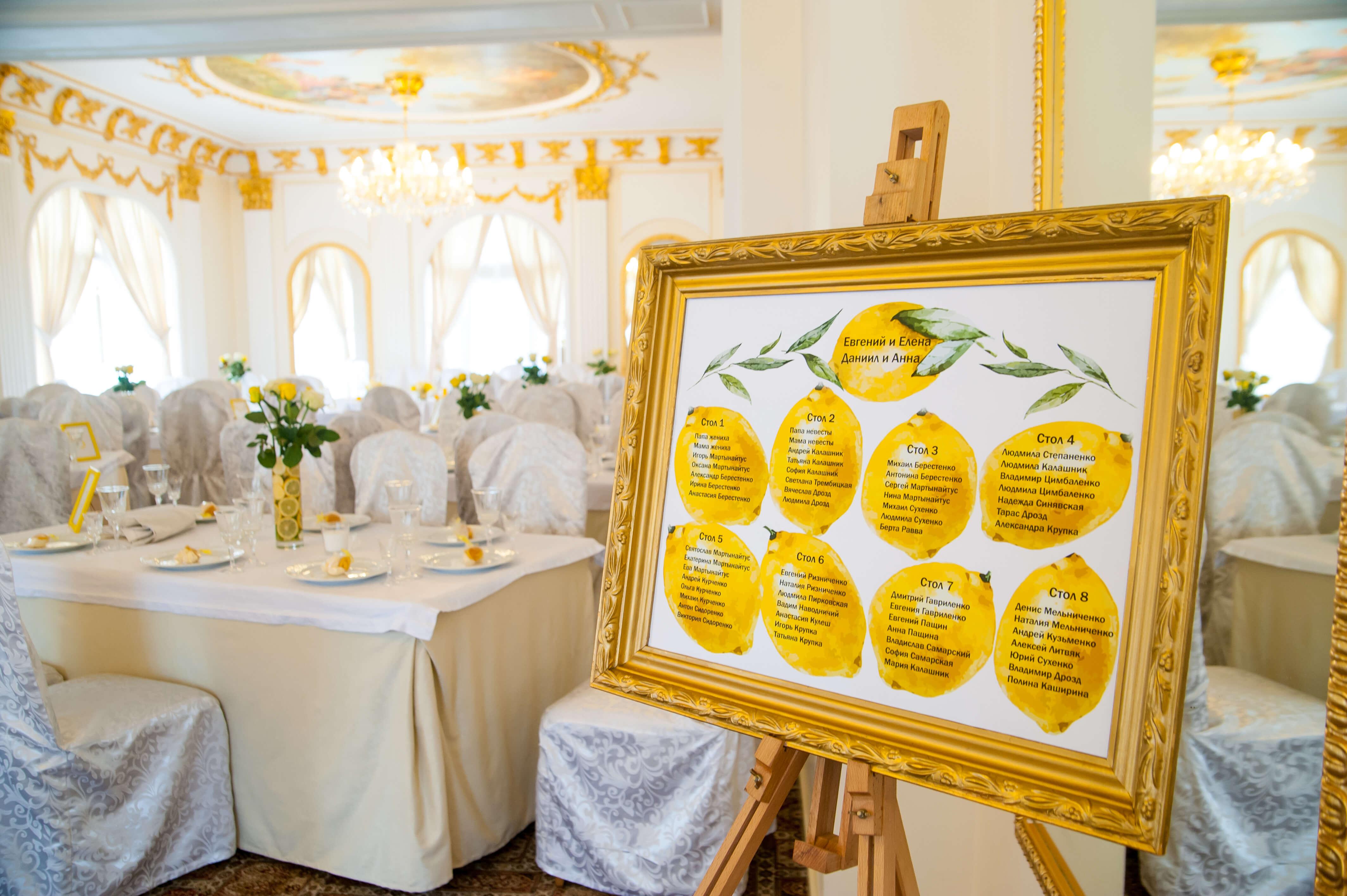 схема рассадки гостей на свадьбе в лимонном стиле
