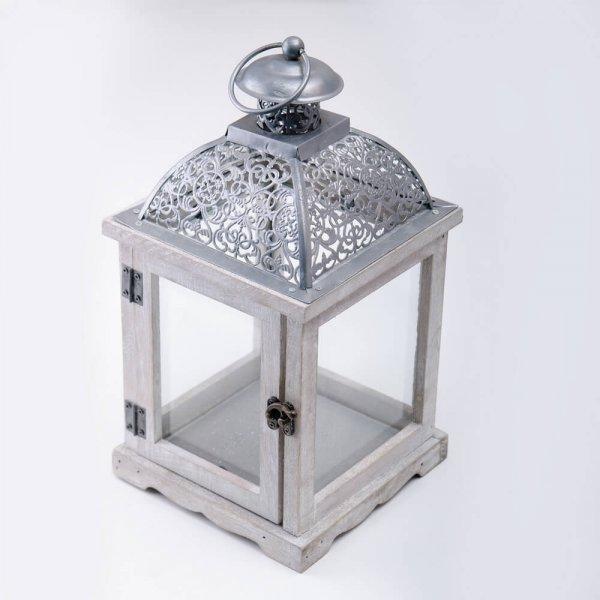 серебристый фонарь для свечи