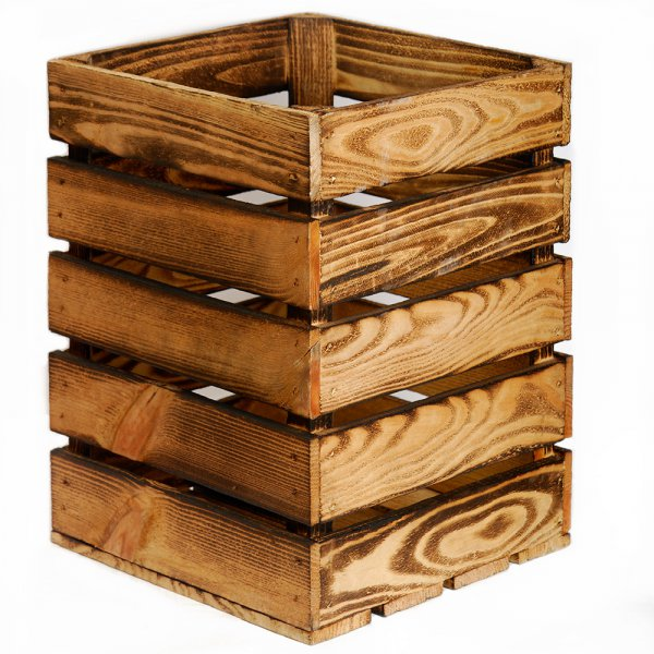 аренда высокого декоративного деревянного ящик из обоженных досок