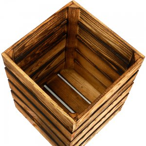 """Высокий квадратный декоративный деревянный ящик из обоженных досок. """"Pion Bouton"""" - Киев."""