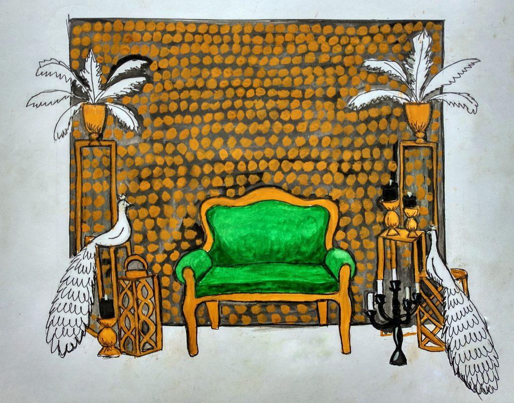 Эскиз фотозоны с диваном, вазами с перьями и птицами.