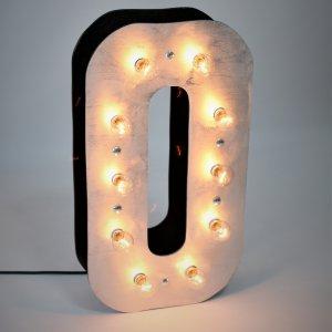 Большая светящаяся объемная цифра 0 с лампочками для составления чисел на фотозоне