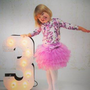 """Большая светящаяся цифра """"3"""" рядом с девочкой у которой день рождения"""