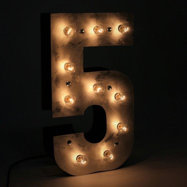"""Объемная большая светящаяся цифра """"5"""" с лампочками"""