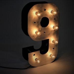 """Объемная цифра """"9"""" с светящимися лампочками"""