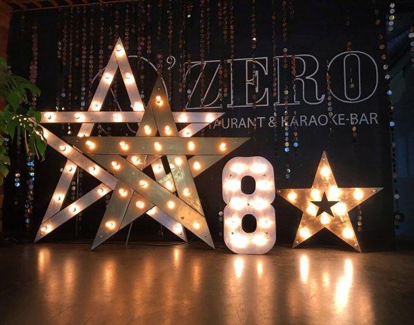"""Звезда и цифра """"8"""" с лампочками."""
