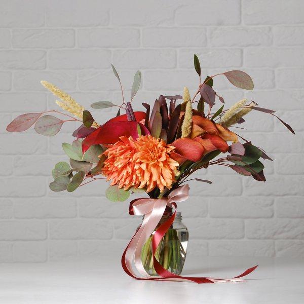 Букет на день рожденья оранжевой осенней цветовой гамме
