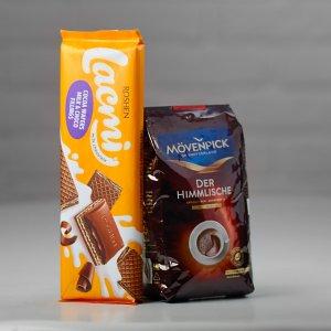 """Плитка молочного шоколада и пачка кофе для набора на 8 Марта """"Кофейный"""""""