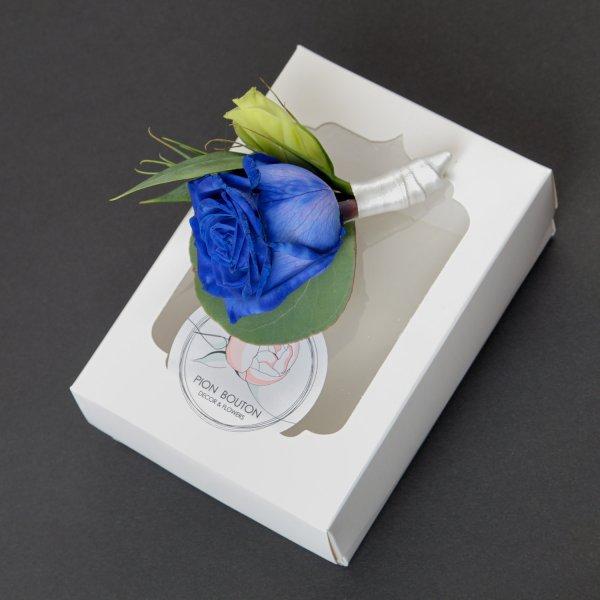 Синяя бутоньерка жениха с коробочкой