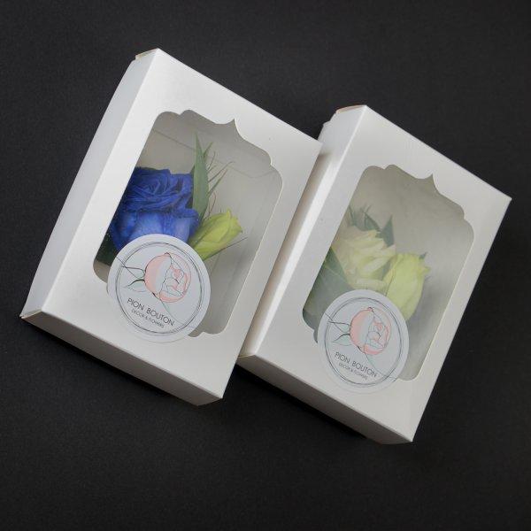 Две бутоньерки для жениха и свидетеля в подарочных упоковках